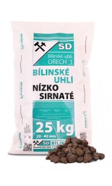 Vrecované bílinské hnedé uhlie orech 1 pre klasické pece - paleta 1 tona